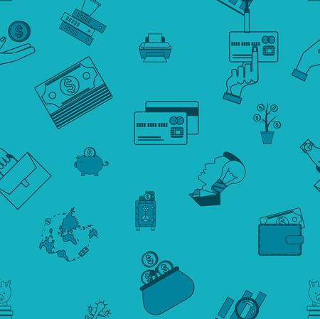 Business and Finance Seamless Pattern Stock Photo