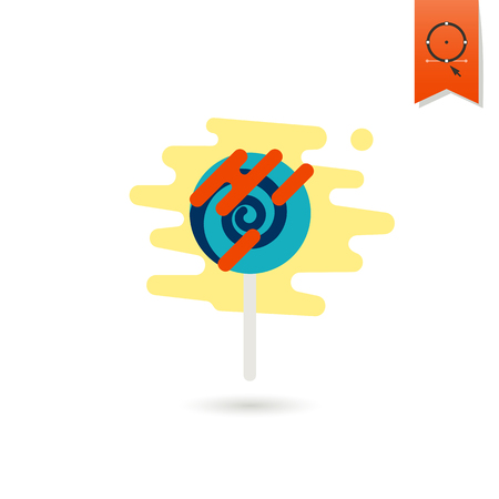 Spiral Lollipop. Dessert Icon in Simple, Minimalistic and Modern Flat Design Style for Candy Shop. Colorful