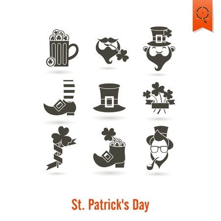 Saint Patricks Day Isolated Icon Set Stock Photo
