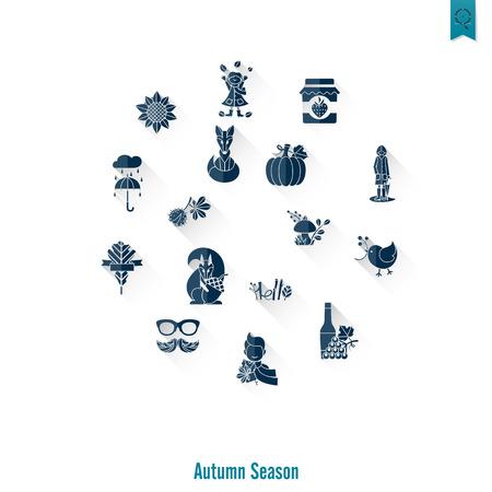 Set of Flat Autumn Icons Ilustrace