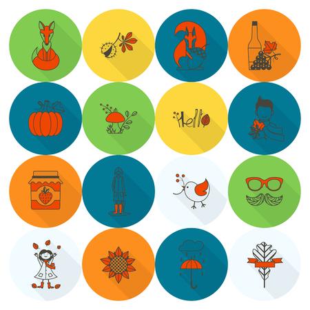 Set of Flat Autumn Icons Illustration