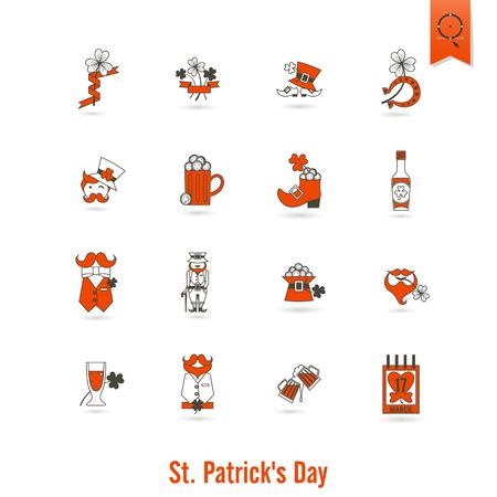 Día De San Patricio Icono Aislado Conjunto. Vector. Puntos mínimos de trabajo limpio