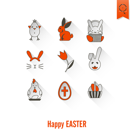 red cross red bird: Celebration Easter Icons Illustration