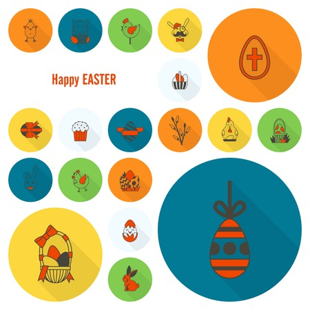 easter cake: Celebration Easter Icons Illustration