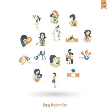 Happy Mothers Day Icons Illustration