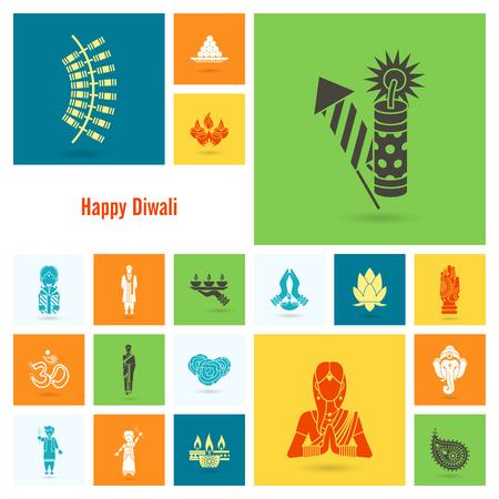 om: Diwali Indian Festival Icons. Illustration