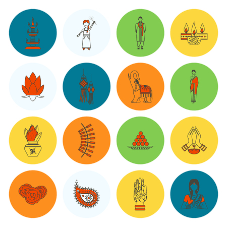 india culture: Diwali Indian Festival Icons. Illustration