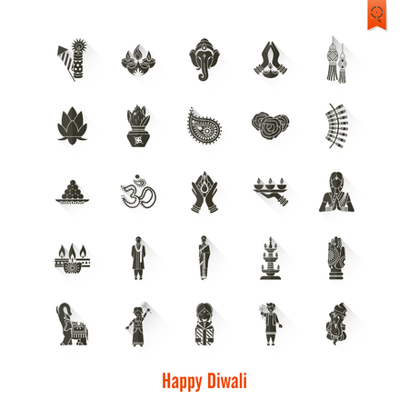 india culture: Diwali. Indian Festival Icons