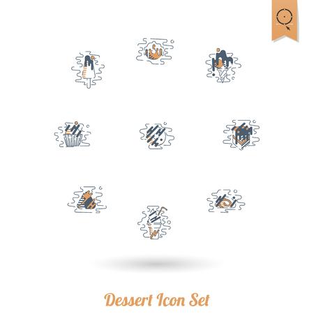 Dessert Icon Set in Modern Flat Design Style Illustration