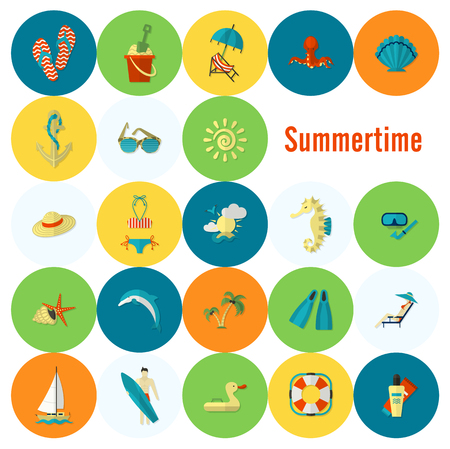 flippers: Summer and Beach Simple Flat Icons Illustration