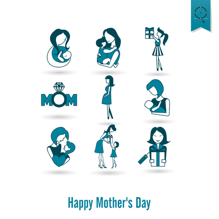 happy woman: Happy Mothers Day Icons Illustration