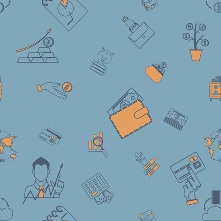 Business and Finance Seamless Pattern Illustration