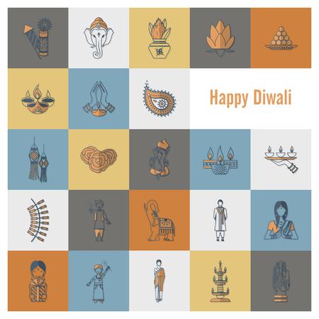 pooja: Diwali. Indian Festival Icons