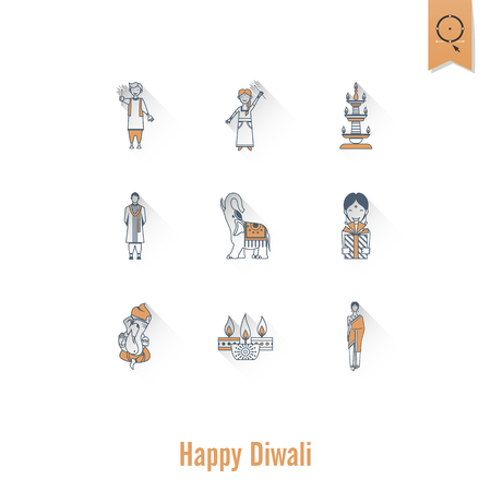 Diwali. Indian Festival Icons