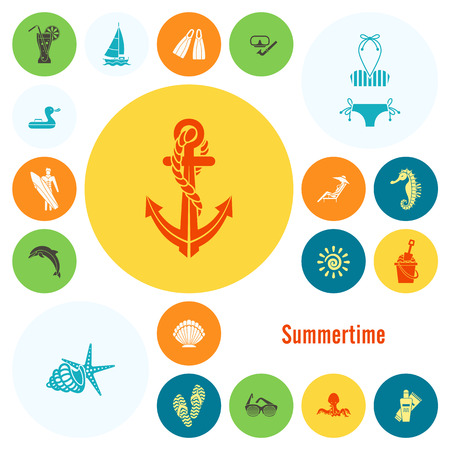 Summer and Beach Simple Flat Icons Ilustrace