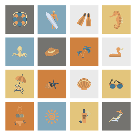 Summer and Beach Simple Flat Icons Banco de Imagens - 76869480