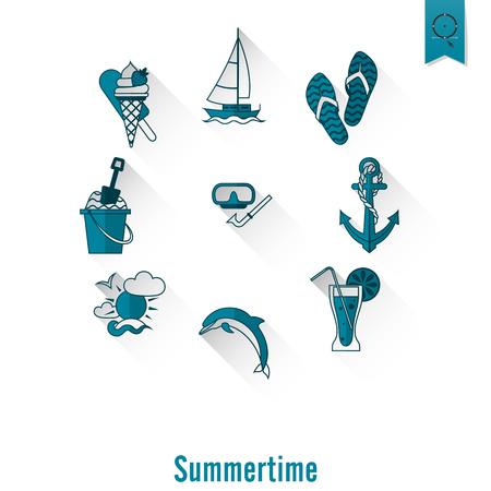pez vela: Verano y playa simple iconos planos Vectores