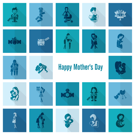 baby and mother: Happy Mothers Day Icons Stock Photo