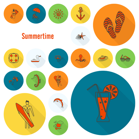 Summer and Beach Simple Flat Icons Banco de Imagens - 79650065
