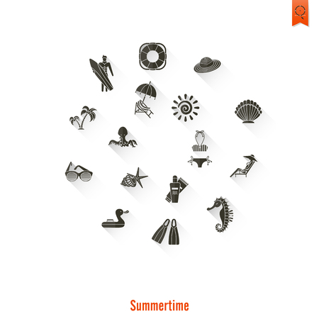 Summer and Beach Simple Flat Icons Banco de Imagens - 79838072