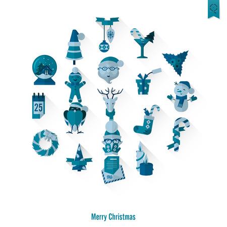 santa sleigh: Christmas and Winter Icons Collection Illustration