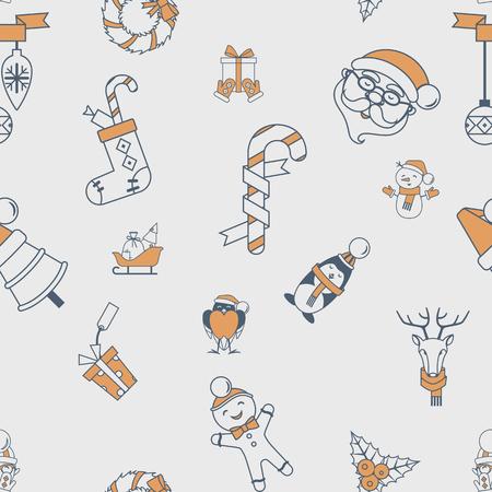 santa sleigh: Christmas Seamless Pattern Background