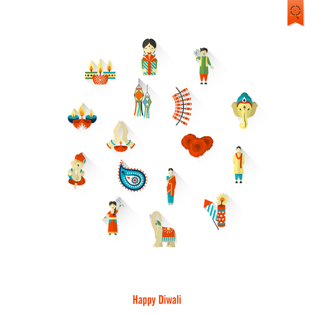 fiery: Diwali. Indian Festival Icons