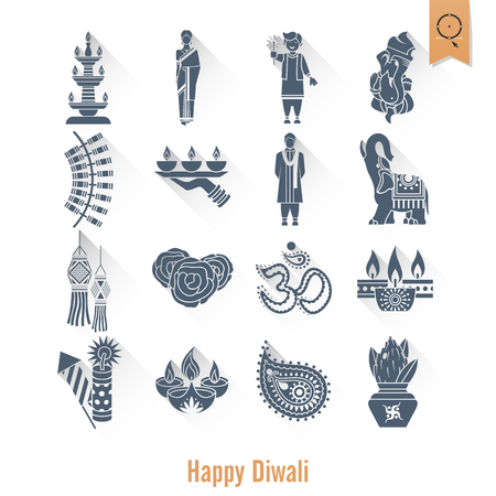 oil lamp: Diwali. Indian Festival Icons