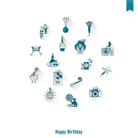 festivity: Happy Birthday Icons Set Illustration