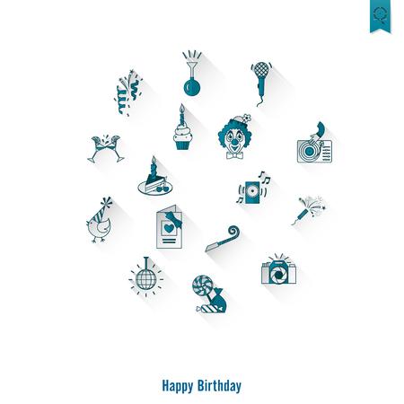 outerwear: Happy Birthday Icons Set Illustration