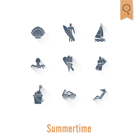 Summer and Beach Simple Flat Icons Illustration