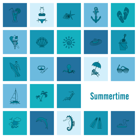 chaise: Summer and Beach Simple Flat Icons Illustration