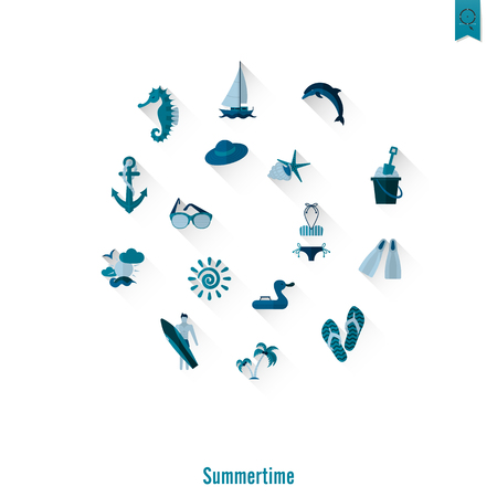 maillot de bain: Icônes plates simples d'été et de plage Illustration
