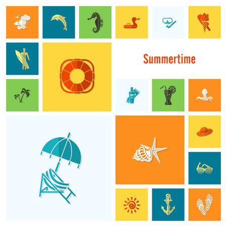 sunburnt: Summer and Beach Simple Flat Icons Illustration