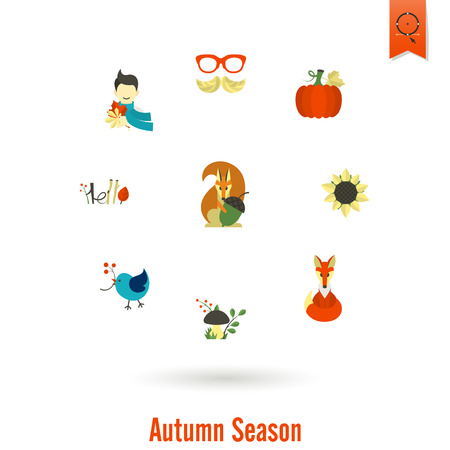 Set of Flat Autumn Icons vector illustration.