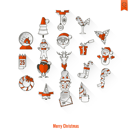 long socks: Christmas and Winter Icons Collection Illustration
