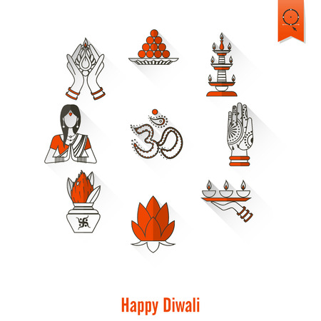 aum: Diwali. Indian Festival Icons