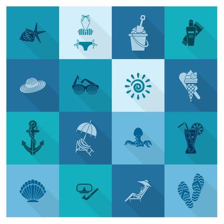 Summer and Beach Simple Flat Icons Ilustração