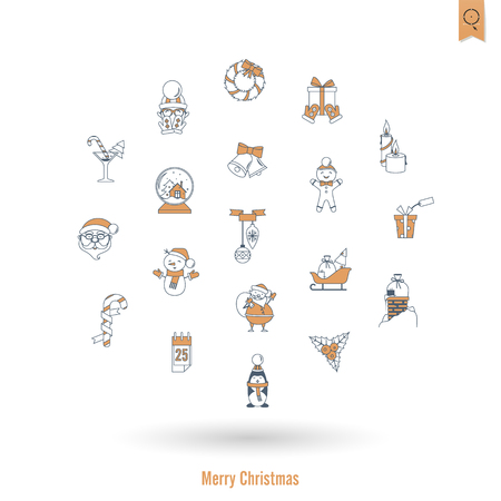 Christmas and Winter Icons Collection Stock Photo