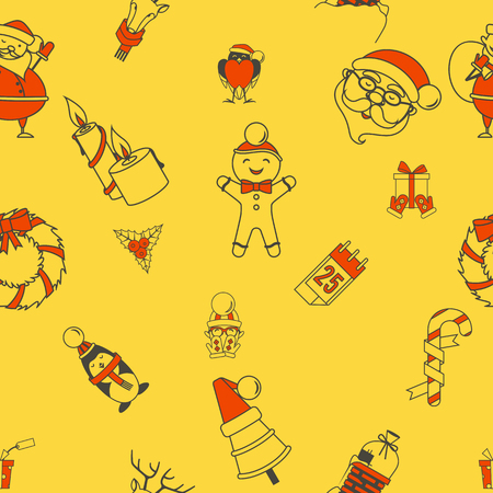 Christmas Seamless Pattern Background. Colorful and Simple Style. Illustration