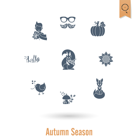 Set of Flat Autumn Icons Ilustrace