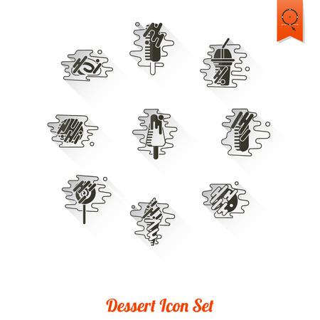 porcion de torta: Icono de postre en estilo moderno diseño plano Vectores