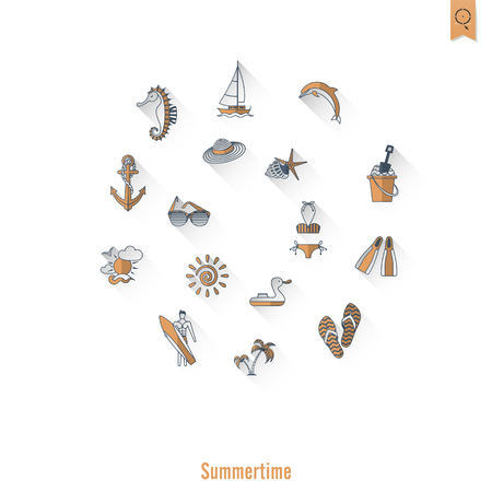 flippers: Summer and beach simple flat icons. Illustration