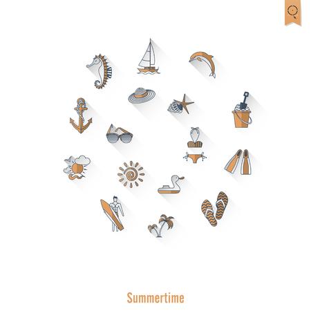 pez vela: Verano y playa iconos planos simples.