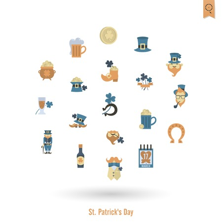Saint Patricks Day, Isolated Icon Set