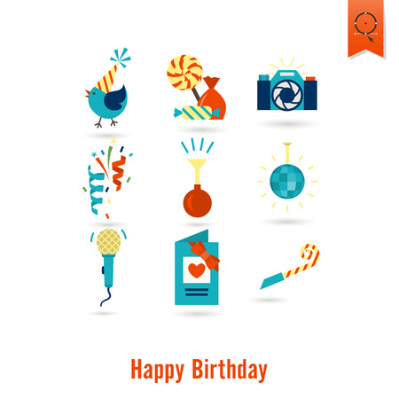 Happy Birthday Icons Set Illustration