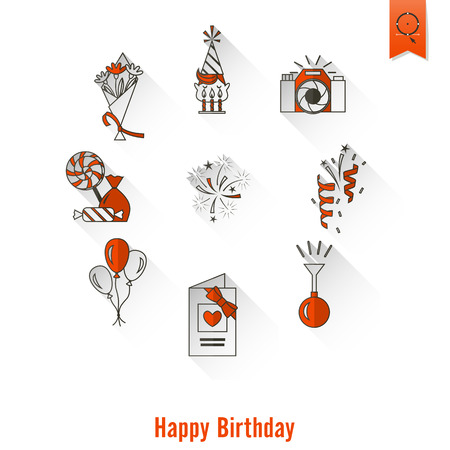 Happy Birthday Icons Set Illustration