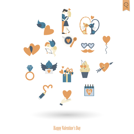 february calendar: Simple Flat Icons Collection for Valentines Day Illustration
