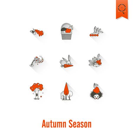 Set of Flat Autumn Icons Stock Photo