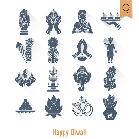 Diwali Indian Festival Icons. Vectores